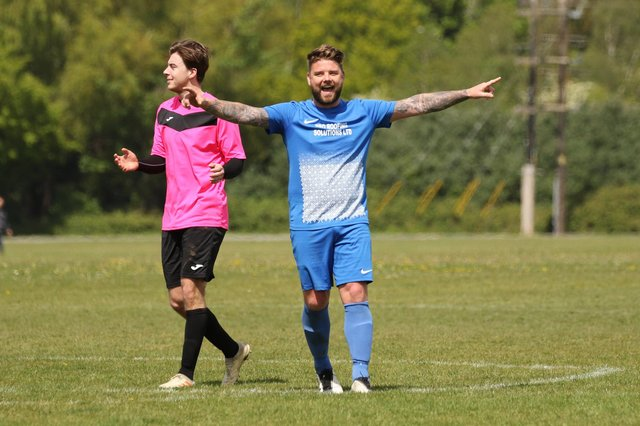 Shane Cornish celebrates Milton Rovers' 2-1 success against Southdowns that clinched the City of Portsmouth Sunday League Division 1 title. Picture by Kevin Shipp.