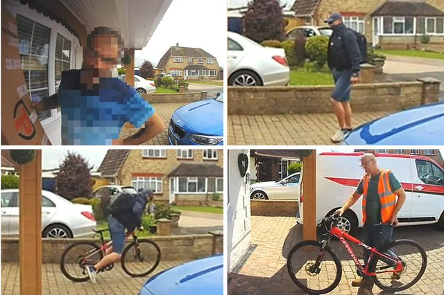 First, the Ring doorbell footage records a delivery driver arriving and leaving a parcel before walking away. In the second image on the top row, a man then arrives - alleged to be the passenger in the Tuffnells delivery van  - and takes the bike, as is shown in the bottom left image. The final image, bottom right, shows the Tuffnels manager who was not involved in the incident returning the bike days later to Spencer Cartwright's home in Waterlooville.
