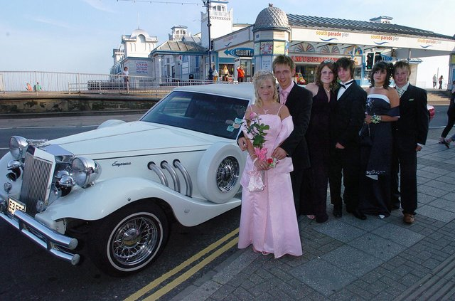 Stephanie Traer, Adam Woodford, Danielle McCarthy, Robert Cooper, Stevie Clifford and Jamie Benny arrived in a supercharged sports limousine for Portchester Community School's prom at the Royal Beach Hotel in South Parade, Southsea in June 2006. Picture: (062868-0027)