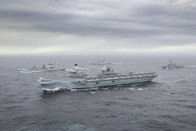 The full UK Carrier Strike Group, pictured during its first assembly for Group Exercise 2020 on October 4.