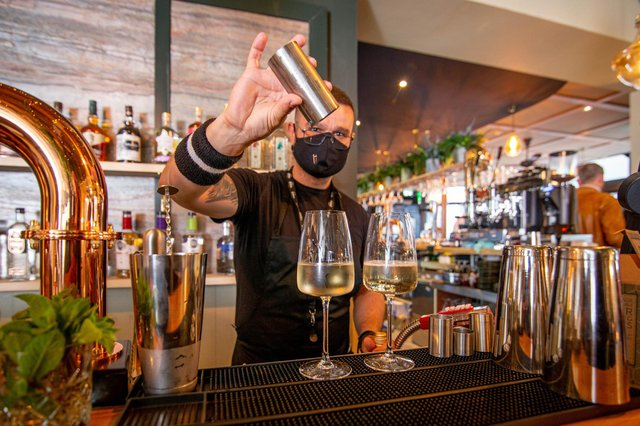 A bartender mixing a cocktail at Carter and Co, Southsea. Picture: Habibur Rahman