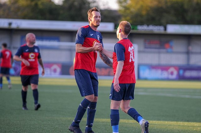 Steve Ledger, right, is quick to find team-mate Lee Cooper after he superbly teed him up for Paulsgrove Veterans' second goal. Picture: Habibur Rahman