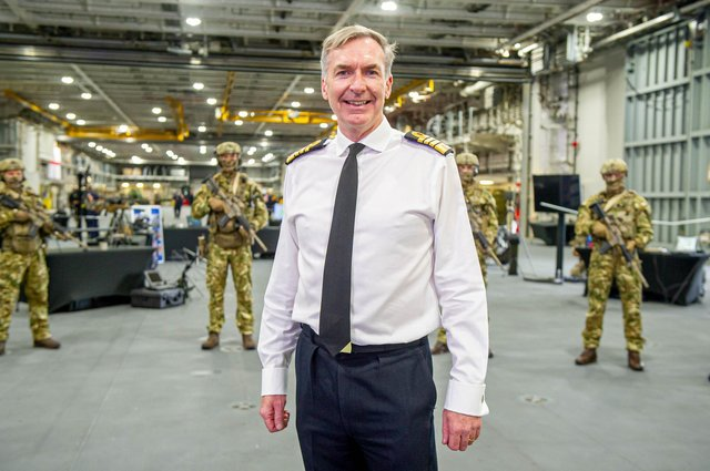First Sea Lord, Admiral Tony Radakin outlining the Royal Navy's future priorities in a speech onboard HMSPrinceofWales on 8 October 2020.Pictured: First Sea Lord, Admiral Tony Radakin with future commando force wearing their new uniform.Picture: Habibur Rahman