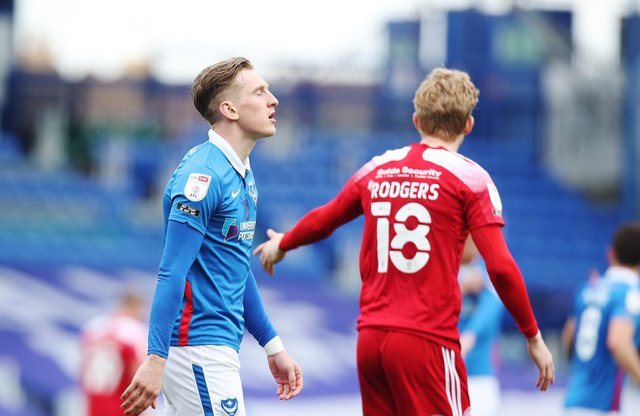 Pompey's Ronan Curtis dejected after Accrington loss today