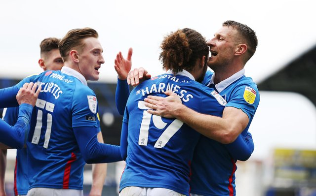 Pompey celebrate Marcus Harness' goal today