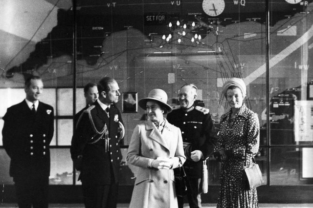 The Queen visiting the D-Day map room at Southwick House in 1973.