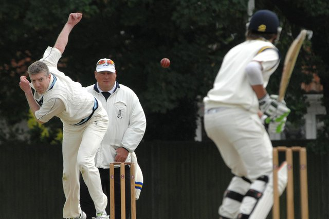 Hayling bowler Dave Wayman took an early wicket in his side's Hampshire League victory over Locks Heath. Picture: Mick Young