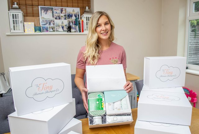 Holly Battle is a stay at home mum of 2 young children in Horndean and she decided to start up a practical hamper business, creating unique & useful hampers for bump, birth, baby & beyond. Picture: Habibur Rahman