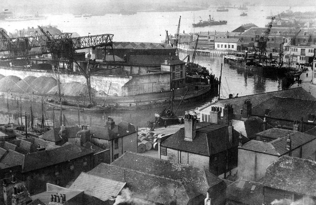 The Camber Dock taken from the top of the cathedral bell tower circa 1930. Picture: costen.co.uk