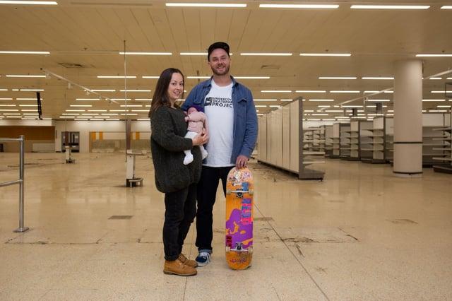Jacob Skinner, fiancé Jenna Boyson, and baby Emi Skinner. Picture: Olaiya Olufemi