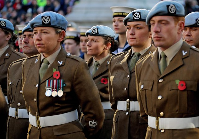 Military personnel pictured during a Remembrance parade in Portsmouth. Photo: LPhot Dave Jenkins