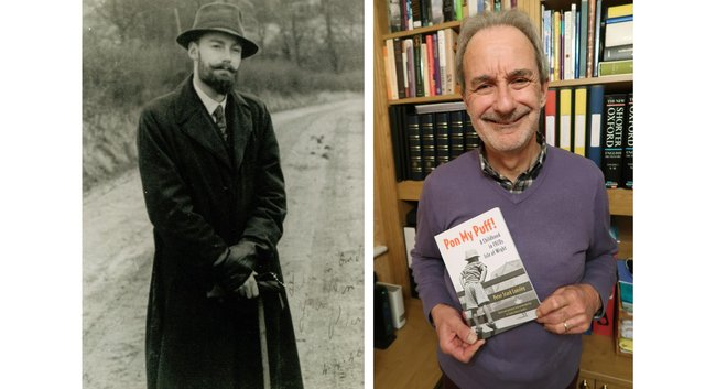 A book about growing up on the Isle of Wight written by Peter Lansley has been published after his son Charles Lansley found the manuscript. Pictured: Peter when he was about 27 years old, and right is Charles with the book