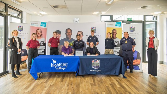 Staff and students attending the signing of the Memorandum Of Understanding.  Pictured: Penny Wycherley. Picture: Mike Cooter (130521)