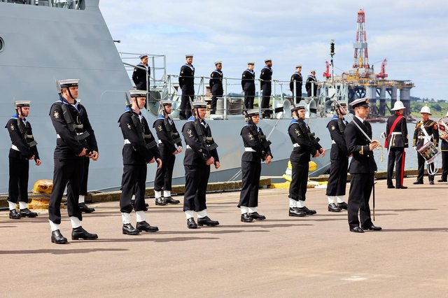 HMS Spey Commissioning Invergordon.  Image shows the ships guard stood at ease during the commissioning service.