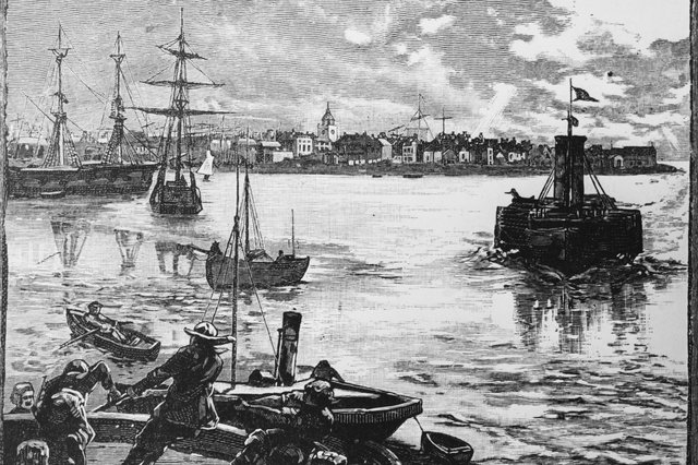 Portsmouth Harbour in Hampshire, circa 1880. (Photo by Hulton Archive/Getty Images)