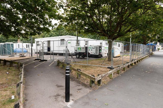The Covid-19 testing site in the car park of the University of Portsmouth's Eldon building, in Middle Street, Southsea. Picture: Duncan Shepherd