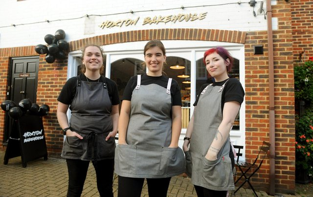 Hoxton Bakehouse officially opened in Brook Street, Bishop's Waltham on Thursday, October 22 2020.Pictured is: (l-r) Kate Bartlett, area manager for Hoxton Bakehouse, Kate Lister, barista, and Viktoria Nagy, store manager. Picture: Sarah Standing (221020-6187)