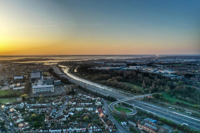 The A27/M27 motorway, over Cosham, just after 7am on March 24, 2020. Picture: Mark Cox