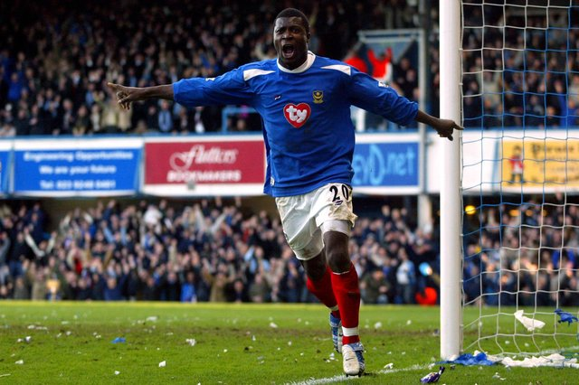 Yakubu is one of the former Pompey players appearing in a charity football match at AFC Portchester in May to raise funds for Great Ormond Street Hospital. Pic: Empics.
