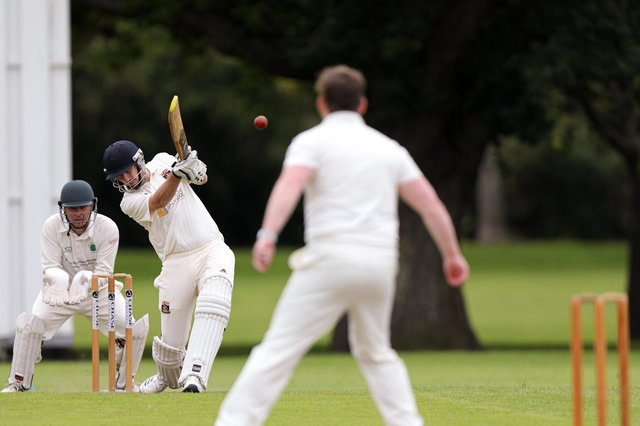 James Headen hits out on his way to an unbeaten 86 for Fareham & Crofton 2nds at Bedhampton. Picture: Chris Moorhouse