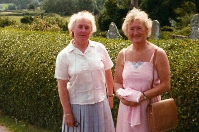 Beryl and Barbara, right, on holiday at Minehead, Somerset.