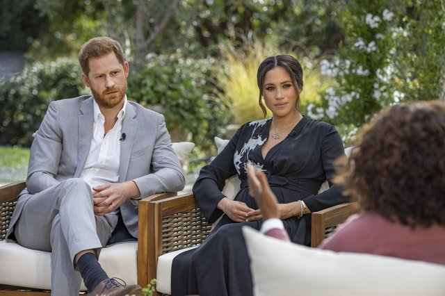 Prince Harry and Meghan, Duchess of Sussex, in conversation with Oprah Winfrey.  Picture: Joe Pugliese/Harpo Productions via AP