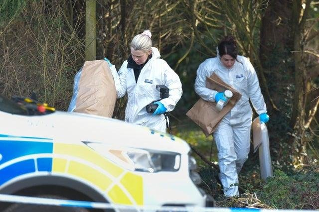 Police forensics at the scene after a baby was found dead in woodlands in Hythe, near Southampton last year. Picture: Solent News & Photo Agency
