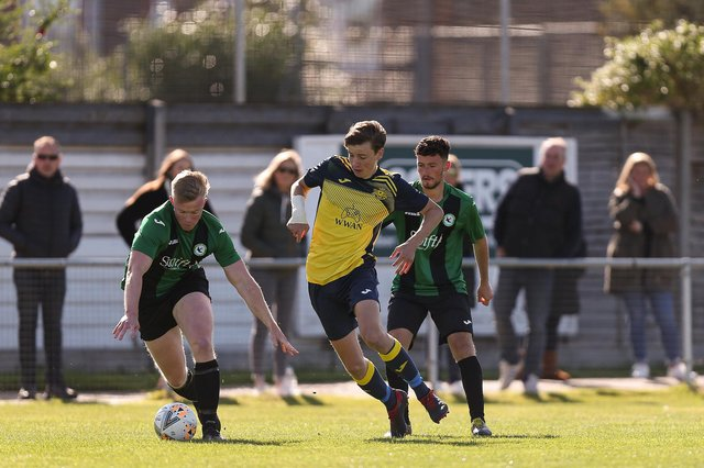 Moneyfields Reserves (yellow/black) in action against Andover New Street Swifts last September - one of 24 Hampshire Premier League Division 1 games the club went unbeaten in under boss Paul O'Rielly, who has now left Dover Road. Picture: Chris Moorhouse