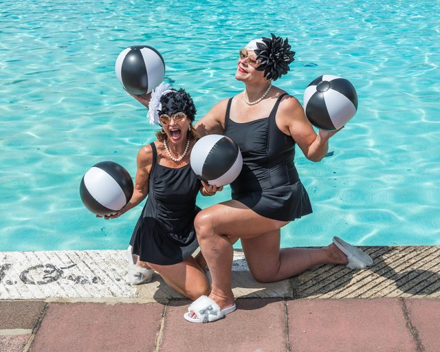 Jessica and Niola - the Lido Ladies - visit Hilsea Lido. Picture: Mike Cooter (020721)