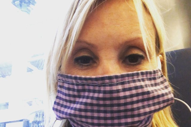 Caroline Dinenage wears a face covering designed by her son Ed. Picture: Caroline Dinenage