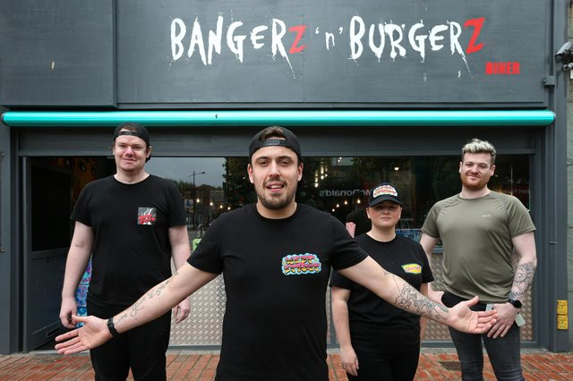 From left, Callum White, general manager Ellis Bloy, Mollie Turvey and assistant manager Robert Marsh. Bangerz 'n' Burgerz are opening a new store in West St, HavantPicture: Chris Moorhouse (jpns 210621-25)