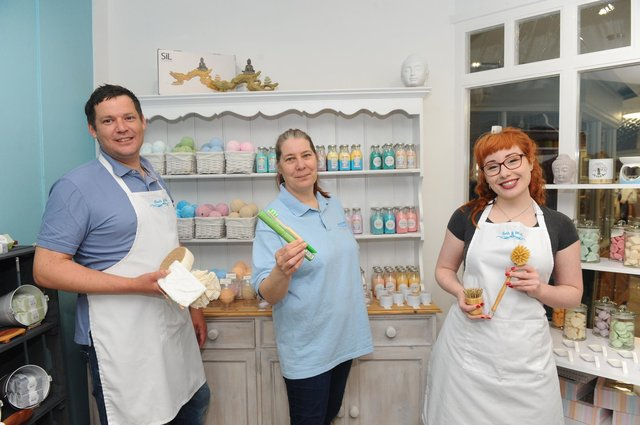 Bath & Wick in Warwick Lane, Wickham, are launching a community project running on crowdfunder.co.uk and are looking to raise funds to create a fully eco friendly shop that sells not only their products but also local producers or handmade products from the local community. Pictured is: (l-r) David Beedle, owner, Julia Locke, head of production, and Satin Bailey, general manager.Picture: Sarah Standing (010421-5880)