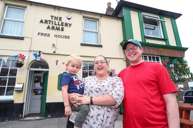 Landlady Katie Jones pictured with her husband Jonathan and their son Bowie age two. Picture: Stuart Martin (220421-7042)