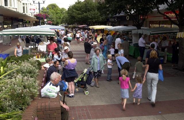A farmers' market is held in Palmerston Road in Southsea in 2003.
