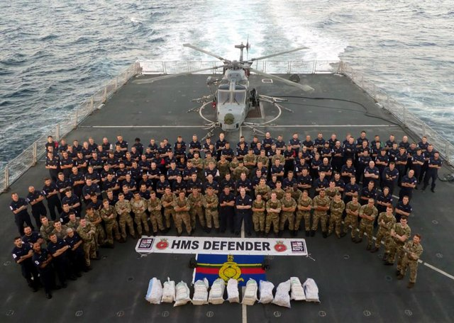 HMS Defender carrying out her £3.3m drugs bust in the Middle East in December 2019. Picture: Royal Navy