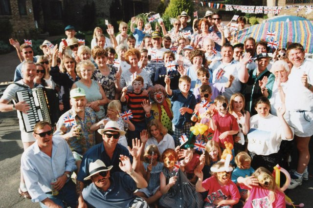Street party at Lower Bere Wood, Waterlooville, in May 1995 celebrating 50 years since VE Day.