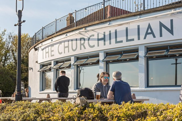 Drinkers at the Churchillian, Cosham.