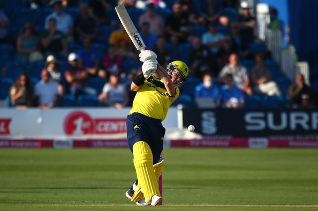 D'Arcy Short top scored for Hampshire with in the high-scoring T20 Blast loss to Middlesex at Radlett. Photo by Charlie Crowhurst/Getty Images.