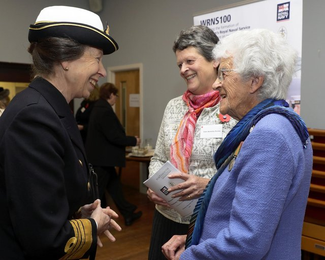 Annette Picton, pictured centre, with her mother Joan as the pair met Princess Anne during an event to mark the 100th anniversary of the formation of the Women's Royal Naval Service