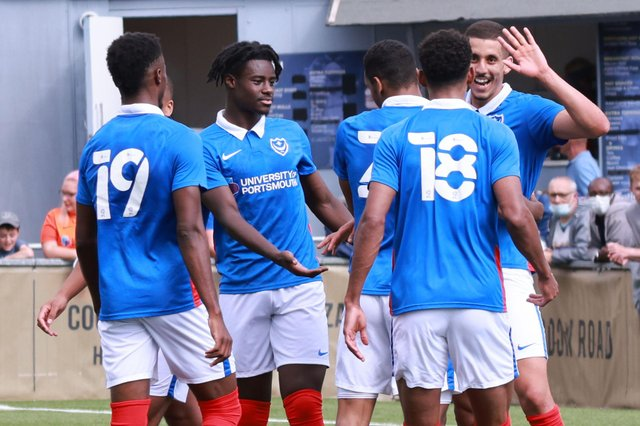 Gassan Ahadme celebrates his hat-trick for Pompey in their friendly win at the Hawks. Picture: Paul Collins