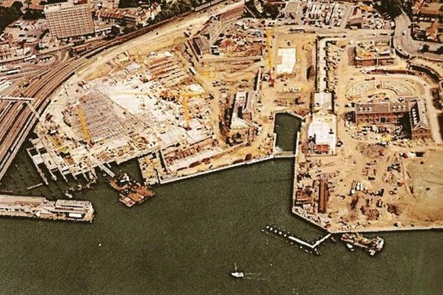 Gunwharf Quays under construction on the former HMS Vernon site.
