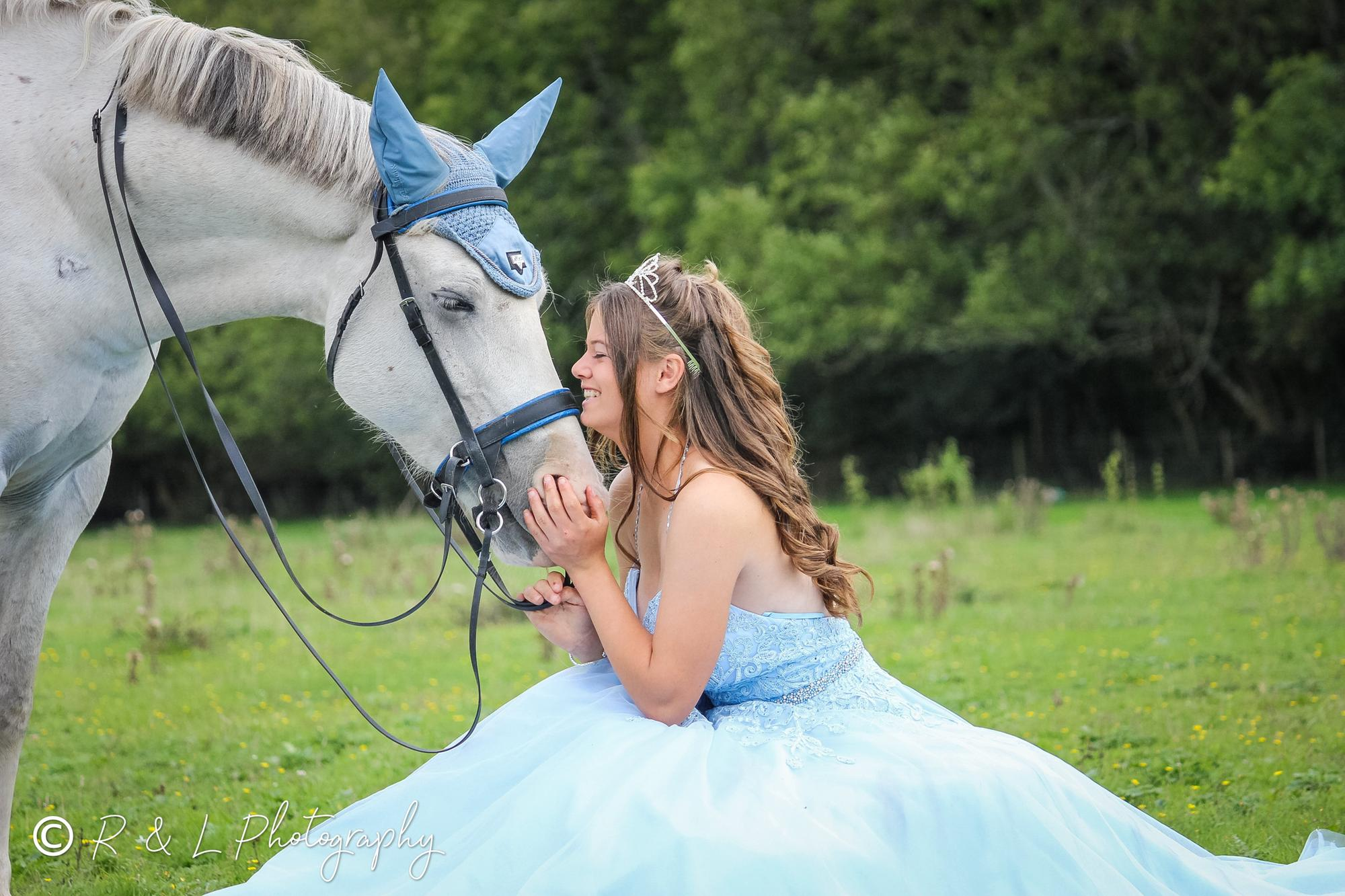 Horserider has dream prom dress photoshoot with beloved pony after school prom is cancelled