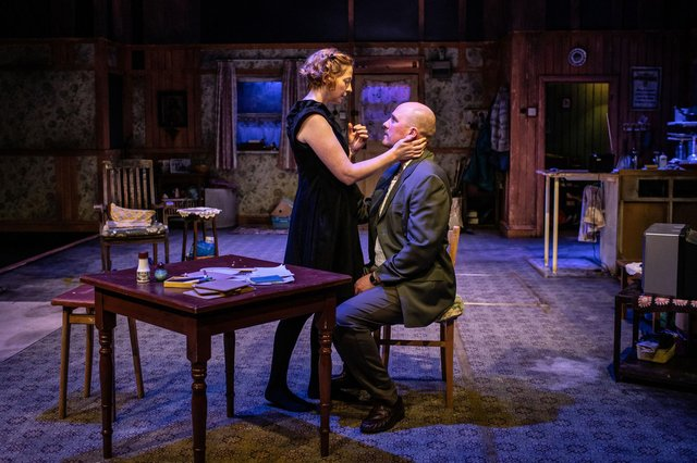Orla Fitzgerald (Maureen) & Adam Best (Pato) in The Beauty Queen of Leenane at the Minerva Theatre. Picture by Helen Maybanks