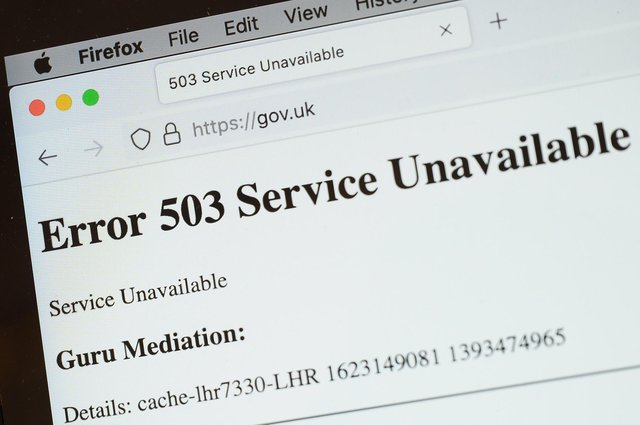 In this Photo illustration, a screen displays a holding page of the Gov.UK Government website portal on June 08, 2021 in London, England. (Photo by Leon Neal/Getty Images)