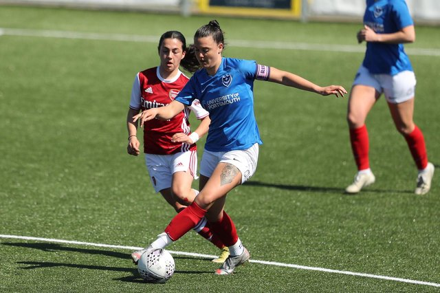 Jade Bradley in action during last month's friendly against Arsenal at Westleigh Park. Picture: Dave Haines.
