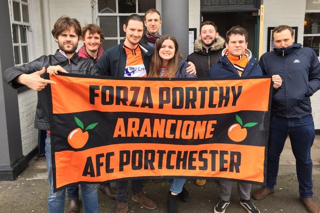 Lewis Millington, third left, with fellow members of The Arancione, the AFC Portchester supporters' group.