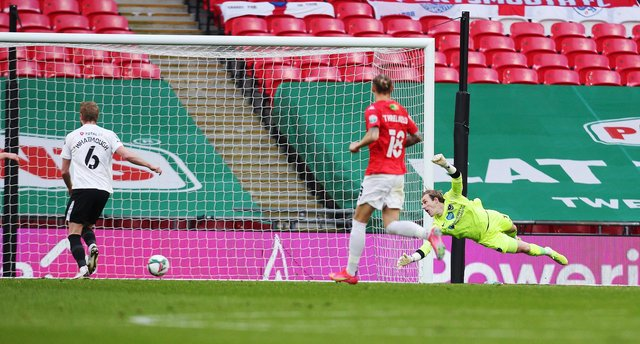 Craig MacGillivray makes yet another save in the Papa John's Trophy final - and, unsurprisingly, is Gaffer for a Day Lee McAvery's man of the match. Picture: Joe Pepler