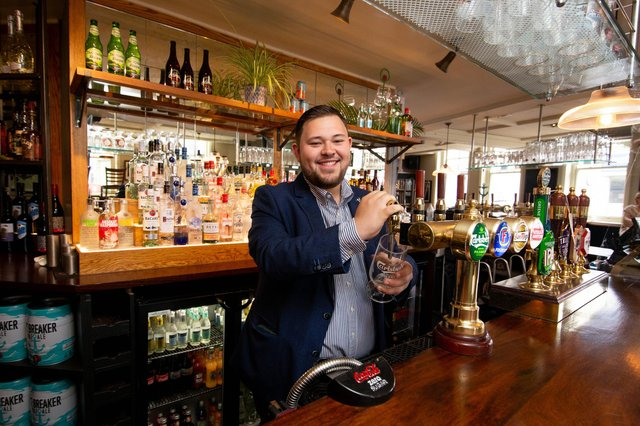 The Bold Forester is reopening on Thursday, with a spruced up pub garden. Pictured: General manager, Charlie Davey at The Bold Forester, Southsea on April 28, 2021. Picture: Habibur Rahman