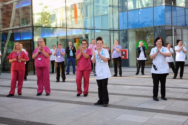 Clap for Carers taking place at Queen Alexandra Hospital in Cosham, along with the Rose and Thistle Pipe Band on what is thought to be the last evening of the tradition on Thursday, May 28.Picture: Sarah Standing (280520-9065)