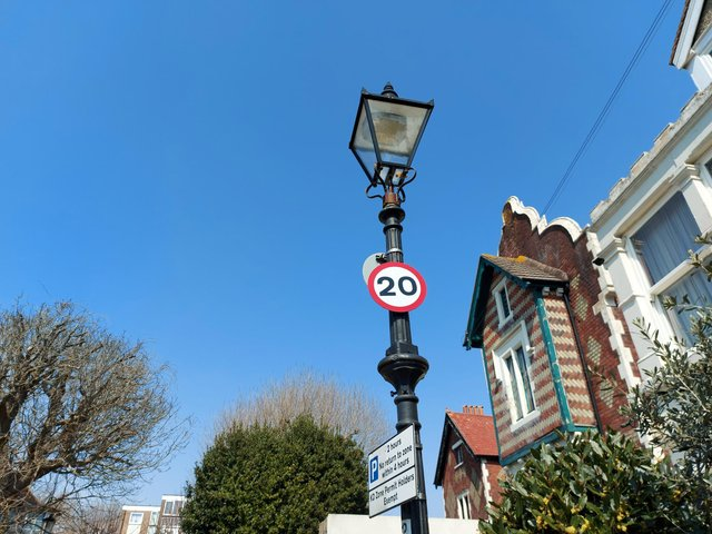 An example of a heritage street light that will just have its bulb changed in Queens Grove in Southsea